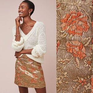 NWT ANTHROPOLOGIE Floral Brocade Mini Skirt